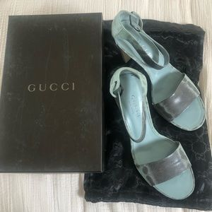 Never worn gucci stacked block wood heel sandals